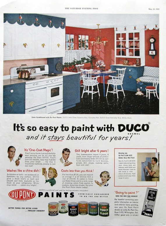 1953 Duco Enamel Paint Ad 1950s Kitchen Red White Blue Etsy - Retro-kitchen-design-you-never-seen-before