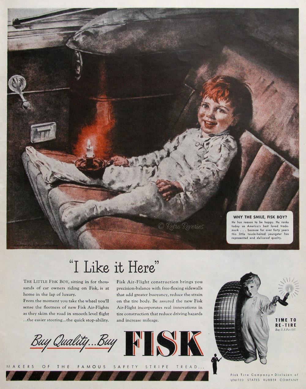 1946 Fisk reifen Unternehmen 1940er Jahre Fisk Reifen jungen | Etsy