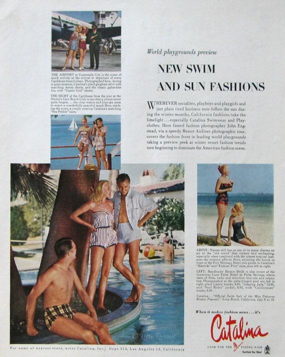 8c7a2a86c1 1953 Catalina Swimsuits Ad Swim & Sun Fashions Retro | Etsy