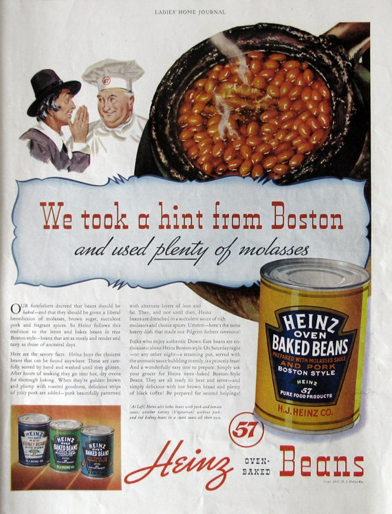 1937 Heinz 57 Oven Baked Beans Advertisement Boston Baked ...