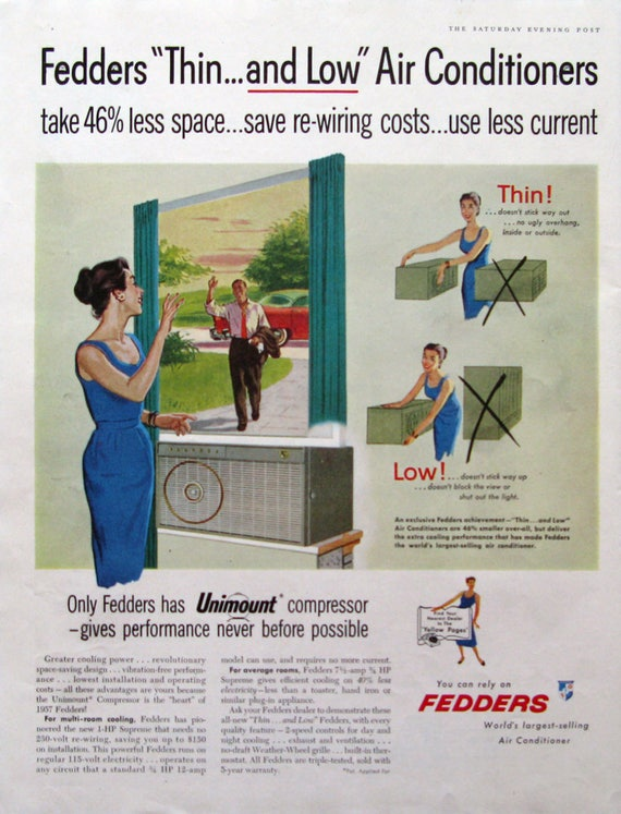 1957 Fedders Air Conditioner Print Ad Retro 1950s Family