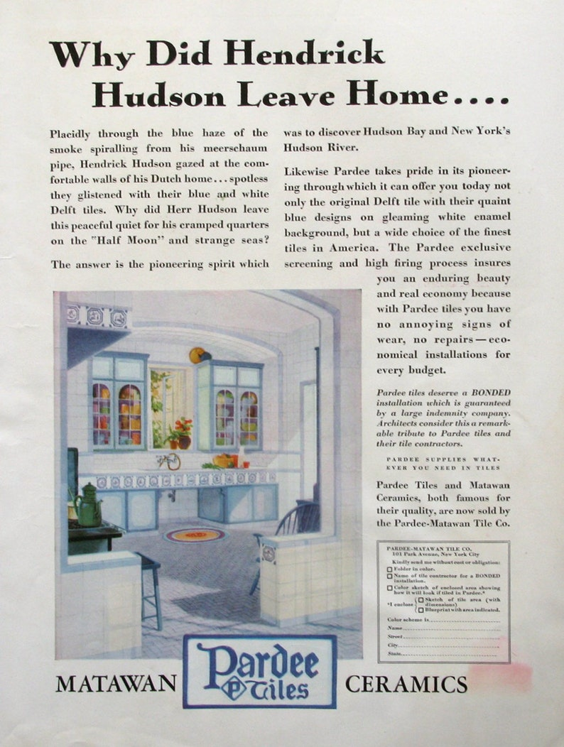 1930 Pardee Tiles Ad Matawan Ceramics 1930s Kitchen Decor Etsy