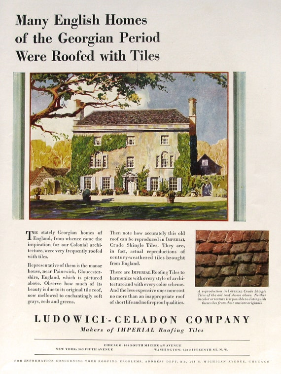 1929 Imperial Crude Shingle Tiles Ad - English Georgian House - 1920s  Sanitas Wallpaper Ad - Vintage House Design Style - Vintage Ads
