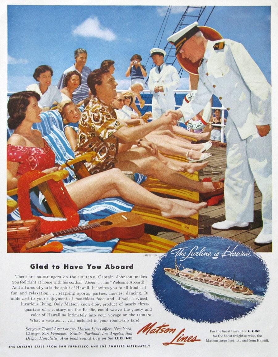 1953 Matson Line Cruise to Hawaii Ad 1950s Lurline Cruise ...