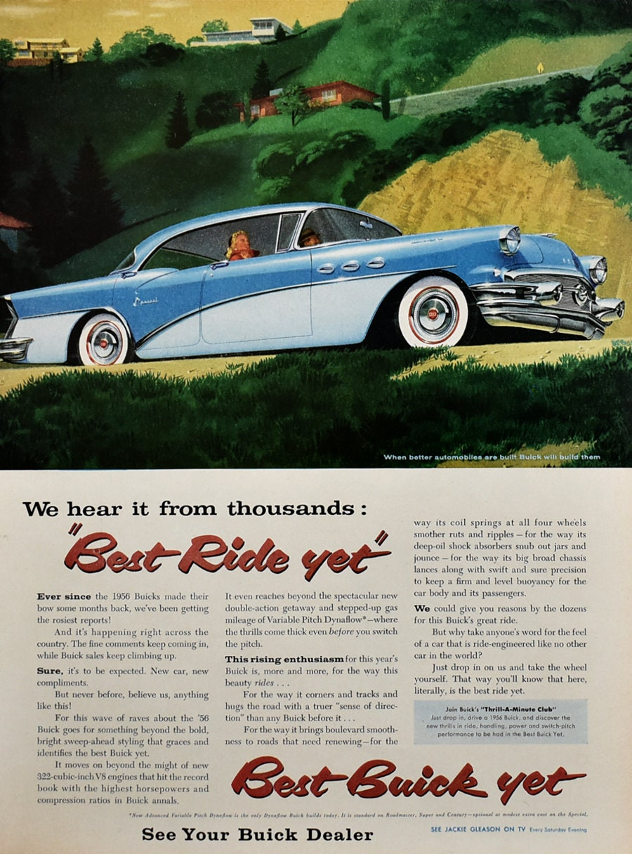 1956 Buick Special Ad Retro Car Art Blue White 2 Tone Etsy 1950s And 1960s Riviera Auto Advertising