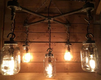 Hanging kilner, Mason Jars in an 'X' Formation industrial steampunk ceiling light with vintge cables and vintage edison light bulbs
