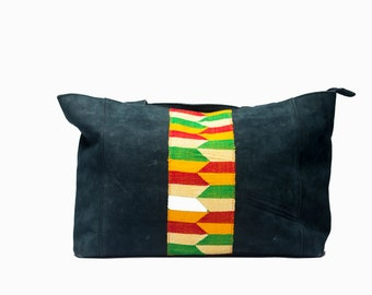 Leather and Kente Tote Bag by Marhaw