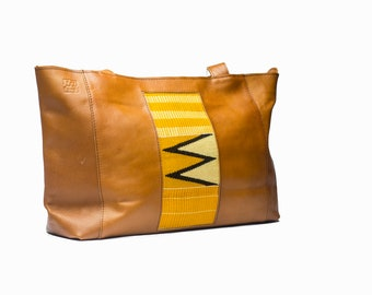 Wide Brown Leather and Kente Tote