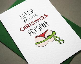 Christmas card for boyfriend funny christmas gift for husband naughty christmas gift for him funny christmas bum present butt card