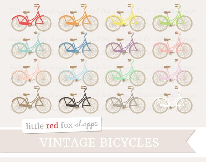 Vintage Bicycle Clipart Retro Bicycle Clip Art Wedding image 0