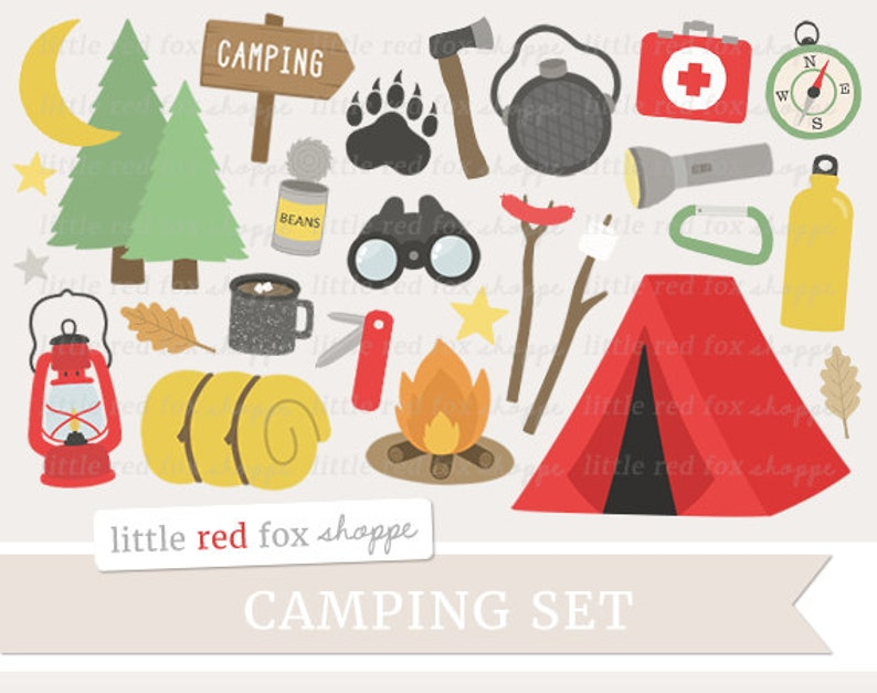 Camping Clipart Tent Clip Art Campfire Clipart Lantern image 0