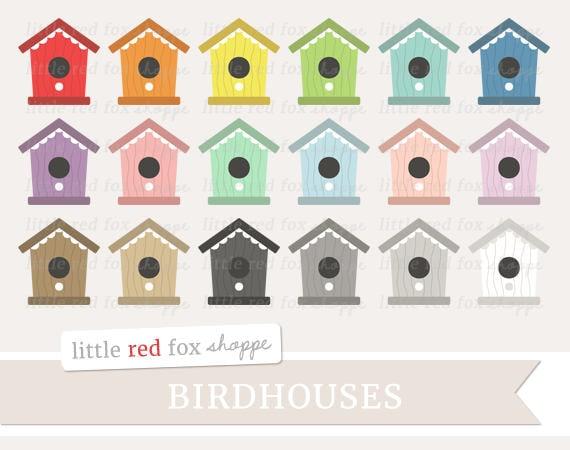 Birdhouse Clipart Bird House Clip Art Bird Clipart Garden Etsy