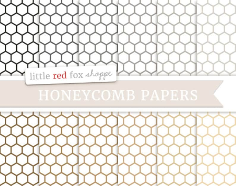 Honeycomb Digital Papers Natural Scrapbooking Backgrounds image 0