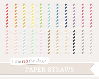 Paper Straw Clipart, Drinking Straw Clip Art Party Invitation Birthday Event Illustration Cute Digital Graphic Design Small Commercial Use
