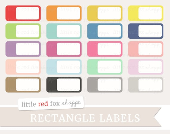 Rounded Rectangle Label Clipart Banner Clip Art Button Frame | Etsy