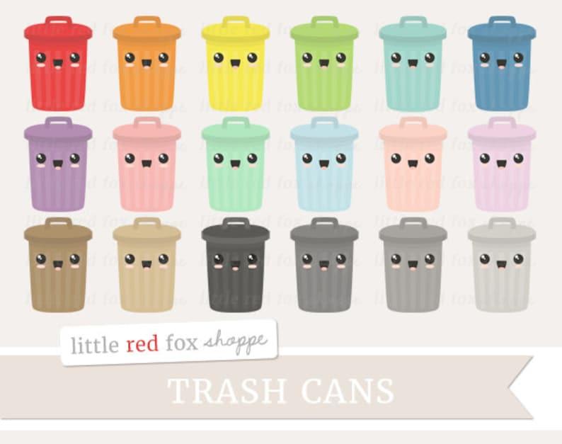 Kawaii Trash Can Clipart Garbage Can Clip Art Chore Reminder image 0