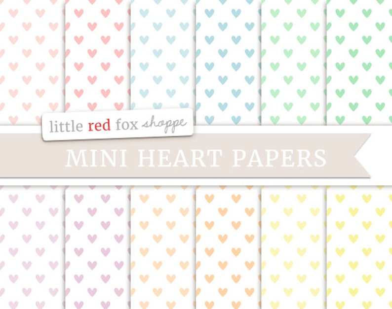 Mini Hearts Digital Papers Pastel Scrapbooking Backgrounds image 0