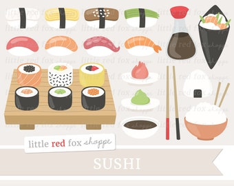 Sushi Clipart, Japanese Food Clip Art, Nigiri Clipart, Onigiri Clipart, Temaki Clipart, Cute Digital Graphic Design Small Commercial Use
