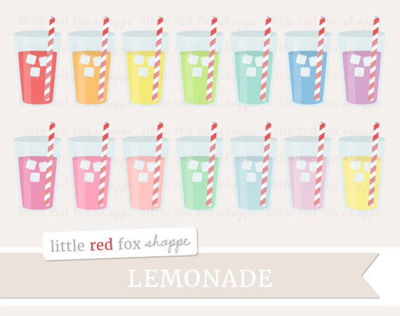 Lemonade Clipart Drink Clip Art Iced Drink Glass Straw Water image 0