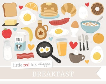 Breakfast Clipart, Food Clip Art, Eggs Clipart, Pancakes Clipart, Milk Clipart, Toast, Cute Digital Graphic Design Small Commercial Use