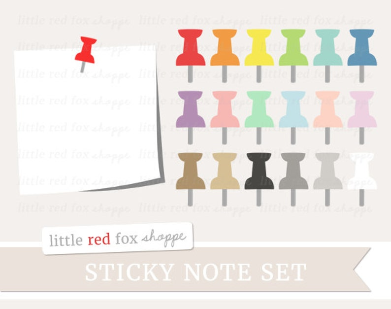 Sticky Note & Push Pin Clipart Pushpin Clip Art Labels image 0