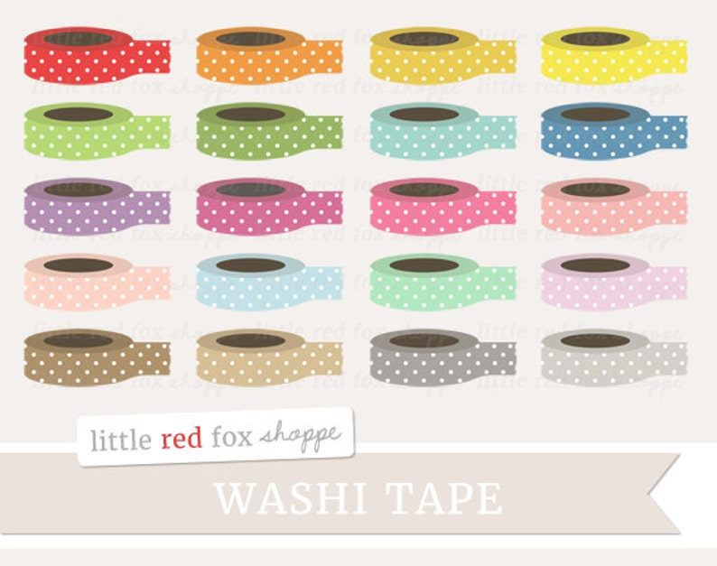 Washi Tape Clipart Office Supplies Clip Art Polka Dot image 0