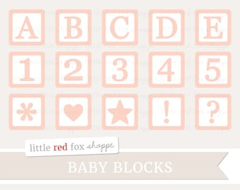 Baby Blocks Clipart, Pink Nursery Digital Clip Art Block Letter Number Alphabet Stationery Cute Digital Graphic Design Small Commercial Use