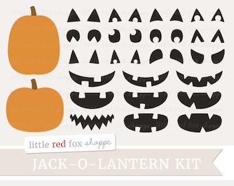 Jack-o-Lantern Kit Clipart, Halloween Clip Art Pumpkin Build Your Own Jackolantern Carving Cute Digital Graphic Design Small Commercial Use
