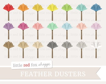 Feather Duster Clipart, Cleaning Clip Art Dusting Rainbow Vintage Clean House Household Cute Digital Graphic Design Small Commercial Use