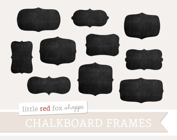 Chalkboard Frames Digital Hand Drawn Labels Doodle Clip Art | Etsy