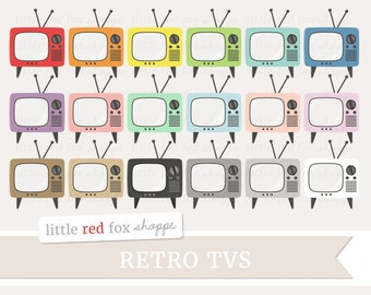 Retro TV Clipart, Vintage TV Clip Art, Television Clipart, Household Object Clipart, Cute Digital Graphic Design Small Commercial Use