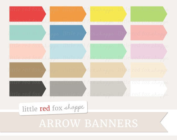 Arrow Banner Clipart Arrow Label Clip Art Cute Frame Pennant | Etsy