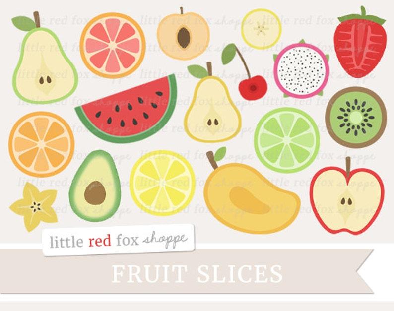 Fruit Slice Clipart Fruit Clip Art Apple Pear Orange Lemon image 0