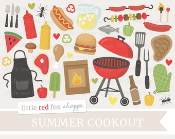 Cookout Clipart, Grilling Clip Art, BBQ Clipart, Grill Clipart, Summer Clipart, Cook Out, Cute Digital Graphic Design Small Commercial Use