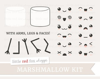 Kawaii Marshmallow Kit Clipart, Kawaii Clip Art Expression Happy Sad Cute Faces Eyes Set Icon Digital Graphic Design Small Commercial Use