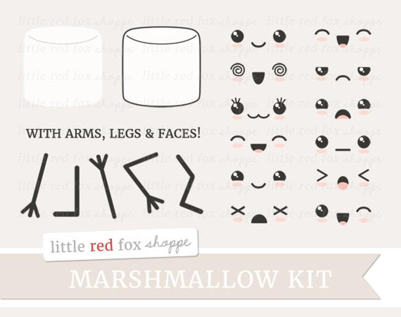 Kawaii Marshmallow Kit Clipart Kawaii Clip Art Expression image 0