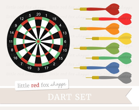 Darts Clipart Dart Set Clip Art Game Board Wall Sport Red Etsy