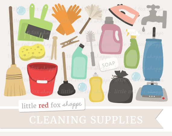 Cleaning Clipart Cleaning Supplies Clip Art Vacuum Cleaner Etsy