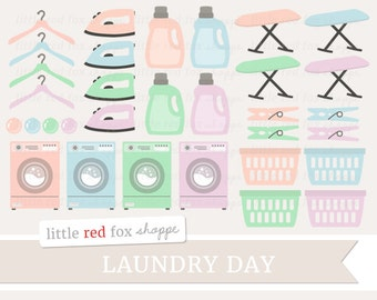 Laundry Clipart, Laundry Day Clip Art Washing Machine Washer Soap Iron Board Basket Hanger Cute Digital Graphic Design Small Commercial Use