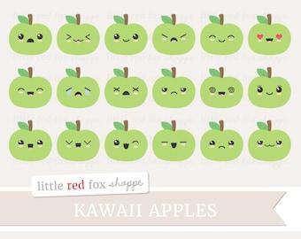 Kawaii Apple Clipart, Fruit Clip Art Faces Happy Summer Food Produce School Teacher Icon Cute Digital Graphic Design Small Commercial Use
