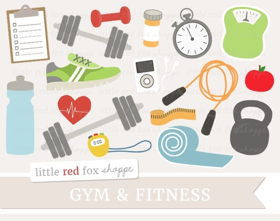 fitness clipart gym equipment clip art health exercise etsy
