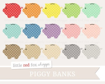 Piggy Bank Clipart, Money Clip Art Polka Dot Saving Cash Coin Save Business Pig Animal Cute Digital Graphic Design Small Commercial Use