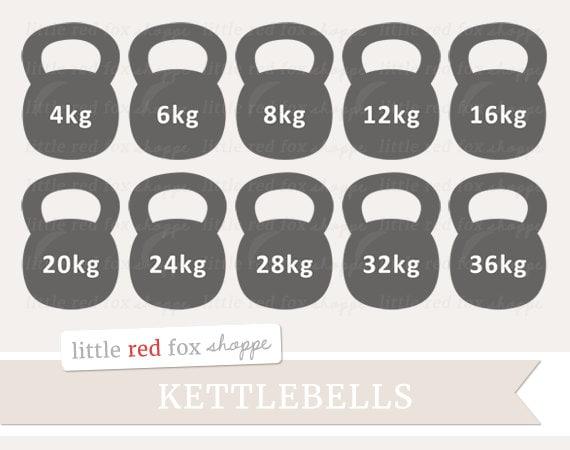Kettlebell Clipart Gym Equipment Clip Art Health Exercise Etsy