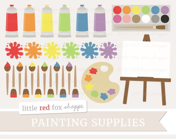 Malen Sie Versorgung Clipart Malerei Clip Art Pinsel Palette Etsy