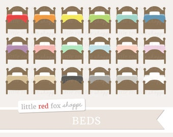 Bed Clipart, Bedroom Clip Art Sheets Pillow Wood Wooden Furniture College Dorm Home Icon Cute Digital Graphic Design Small Commercial Use