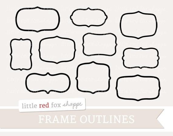 Hand Drawn Frame Outlines Digital Doodle Clip Art Elements | Etsy