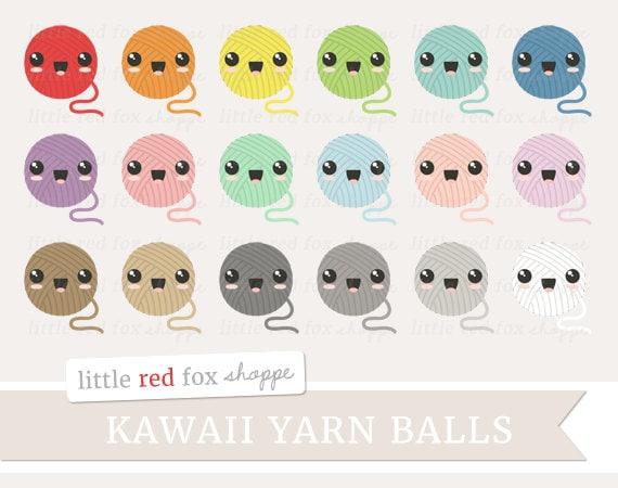 kawaii yarn ball clipart knitting clip art crochet string etsy