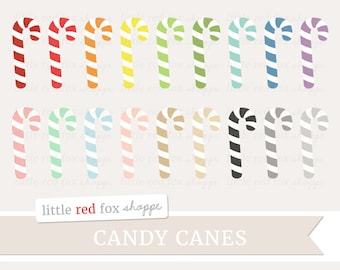 Candy Cane Clipart, Christmas Clip Art Holiday Striped Peppermint Stocking Tree Decoration Cute Digital Graphic Design Small Commercial Use