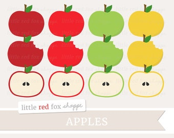 Apple Clipart, Fruit Clip Art Label Banner Shape Fruit Orchard Grocery Groceries Produce Cute Digital Graphic Design Small Commercial Use