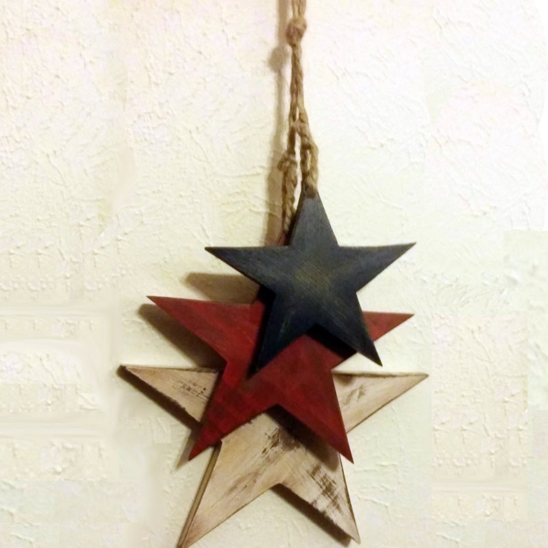 Hanging Star Wall Decor Three Stars On Jute Rope Red White And Blue America Usa Home Decor Fourth Of July Rustic Patriotic